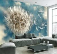 Wholesale beautiful backdrops for sale - Group buy Customize large mural light blue pure beautiful dandelion simple TV backdrop wall wallpaper for walls d papier peint
