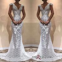 ingrosso vestito bianco lungo chiffon da paglia-Manicotto elegante manica bianca piena del merletto 2019 Immagini reali Prom Dresses Lunghe sirene Abiti da sera lunghi Abiti da cerimonia per spettacolo formale