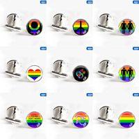 drapeaux colorés achat en gros de-Gay Pride Colorful Arc-En-Drapeau Chemise Boutons De Manchette Ronde Pour Lesbienne Cristal De Verre Cabochon De Mariage Boutons De Manchette Pour Hommes Bijoux