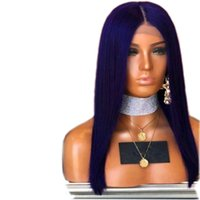 ingrosso capelli blu delle donne-Parrucca anteriore in pizzo blu sintetica per le donne nere Glueless parte centrale Parrucche sintetiche di seta glueless diritta resistente al calore con i capelli del bambino