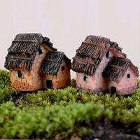 ingrosso decorazione del vaso del fiore del giardino-Thatched House 1pcs Miniature Garden Craft Landscape Pianta Vaso di fiori Bonsai Decor Fairy Ornament Small