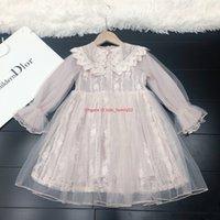 uzun kollu elbiseli iki renk toptan satış-Kızlar elbise çocuklar tasarımcı giyim sonbahar yaka uzun kollu örgü elbise moda astar pamuk elbiseler iki renk