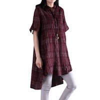 Wholesale spandex womens plus clothing online - 5XL Plus Size Womens Clothing Fashion Women Plaid Loose Dress Stand Collar front Buttons Short Sleeve Irregular Plus Size Dress