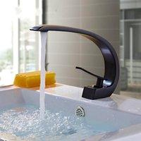 ingrosso rubinetti a mano singola in bronzo-Rubinetti lavabo in ottone moderno bagno rubinetto miscelatore lavaggio singolo manico singolo foro elegante gru bronzo lucidato ad olio