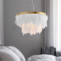 Wholesale fabric lamp cord resale online - Nordic Feather Pendant Lamp Light Romantic Fabric Chandelier INS Fairy Feather Ceiling Hanging Lighting Suspension v v