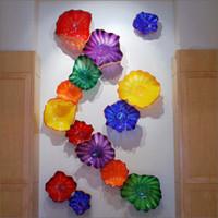 ingrosso lastre di vetro soffiato arte della parete-Handmade Flower Progettato soffiato Parete di vetro lampade di stile europeo su misura piatti da parete Progettato Murano lampade da parete in vetro soffiato Art