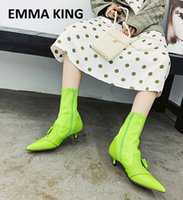 Wholesale king motorcycle resale online - EMMA KING Fashion Stretch Ankle Boots for Women Neon Green Black Ladies Shoes Woman Party Wedding Pumps Motorcycle Boot