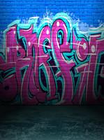 mur de briques achat en gros de-Bleu et rose Graffiti Mur de briques Vinyle Photographie Décors Sans Soudure Photo Booth Arrière-plans pour Enfants Fête D'anniversaire Studio Props