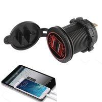 motosiklet değişiklikleri toptan satış-1 Adet Araba Tekne Motosiklet 4.2A LED Çift USB Şarj Soket Şarj Güç Adaptörü Çıkış Gücü 12-24 V Modifikasyon Aksesuar