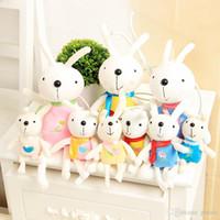 ingrosso matrimonio della bambola del coniglio-Simpatici giocattoli di coniglio 22CM Animali bambola di peluche Mini Ciondolo Giocattoli Gonna di pizzo da 8,7 pollici Bambole Kawaii Bouquet incantevole Bambini Decorazione per vacanze di nozze