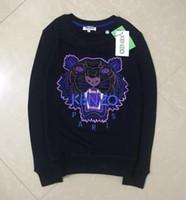 ingrosso maglione nero tigre-2018 spedizione gratuita Uomo Donna Embroidere tigre maglione tuta tuta maglione giacca nera / bianca taglia S-2XL
