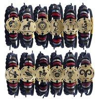 cruz do zodíaco venda por atacado-Venda de liga de pérolas unisex 12 signos do zodíaco pulseira de couro com cross-border estável pulseira de couro de abastecimento