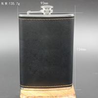 flaschenkästen großhandel-Bevorzugte Qualität Edelstahl 9 Unzen Flachmann Leder Whisky Weinflasche Retro Gravur Alkohol Pocket Flagon Mit Box Geschenke