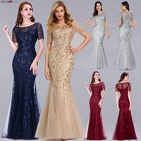 Formal Evening Dresses 2019 Ever Pretty New Mermaid O Neck Short Sleeve Lace Appliques Tulle Long Party Gowns Robe Soiree Sexy SH190828