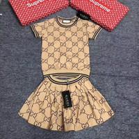 kore elbisesi giyim toptan satış-Tasarımcı lüks Kız Yaz Koreli Çocuk Elbise Kısa Kollu twinset Çocuk Giyim Çocuk Giyim Seti Çocuk Elbise 092.004 Suit