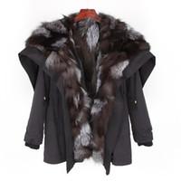 casacos de mulheres de moda de inverno coreano venda por atacado-2018 real casaco de pele Mulheres Jaqueta de Inverno Casaco de pele de raposa Real gola solta Parka Streetwear Outerwear nova moda coreano Top marca