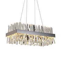 suspensão luminárias de cozinha venda por atacado-Luxo retângulo de cristal lustre para sala de jantar ilha de cozinha lâmpadas de suspensão moderna levou lustres de iluminação interior luminárias