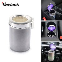Wholesale cup holder car ashtray resale online - Vingtank Car Cigarette Ashtray for Cup Holder Smokeless with Blue LED Light and Cover Cigarette Ashtray Built in battery