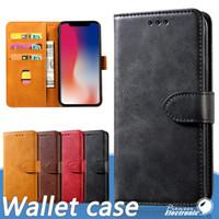 telefon cüzdanı kredisi toptan satış-2019 IPhone 11 PRO X XS cüzdan Kılıf Deri Retro Flip Huawei P30 P20 Samsung Note 10 S10 S9 İçin Kredi Kartı Yuvaları Cep Telefonu Standı
