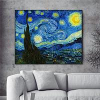 impressionistische malereien großhandel-Sternennacht Von Impressionist Van Gogh Ölgemälde Druck Auf Leinwand Sternennacht Dekorative Bilder Für wohnzimmer Cuadros