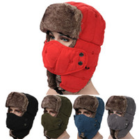 Wholesale aviator warm cap hat for sale - Group buy Winter Trapper Hats with Ear Flaps Aviator Russian Hat Winter Outdoor Warm Hat Skiing Sport Windproof cap ZZA899