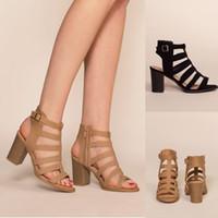 Schwarz Khaki Frauen Elegante Peep Toe Sling Rückseite Reißverschluss Sandalen Trendy Street Thick Platz High Heels reizend Partei Schuhe