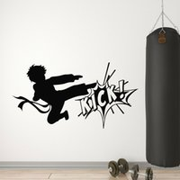 Wholesale kicking martial arts for sale - Group buy Karate Boy Vinyl Wall Decal Fighting Kick Martial Arts Wall Stickers Modern Sport Home Decoration Living Room Wushucentre