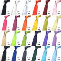 tamanhos de meia de seda venda por atacado-Menor preço 24colors em estoque mens regular tamanho gravatas imitar seda sólida cor lisa casamento gravata lenth