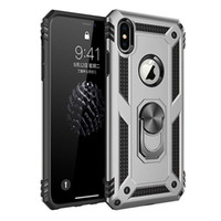 iphone tampon halka kılıfı toptan satış-İPhone kılıf için Hibrid Zırh Kickstand Darbeye Vaka Silikon Tampon Kapak iphone XR XS X 6 s 7 8 Artı Metal Halka vaka