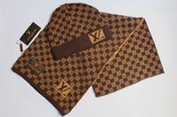 Wholesale cycling warming sets resale online - High Quality Men And Women Design Hat Scarf Sets Warm European High end Hats Scarves Sets Brand Hat Scarf Fashion Louis Vuitton