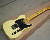 cuerda de crema amarilla al por mayor-Nueva Guitarra Eléctrica Factory Cream 2019 con Negro Pickguard, Chrome Hardware, Yellow Maple Neck, Strings-Thru Body, puede ser personalizado
