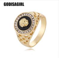 neuer punk-mode-ring großhandel-New Fashion Gold und Silber Farben Classic Herren Punk Style Hip Hop Ring Männer Mann Fingerringe für Männer Frauen Size7-12