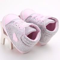 ingrosso pattini del puntino di polka delle neonate-Neonati Neonati Polka Dots Cuore Autunno Lace-Up Prima Walkers Sneakers Scarpe Toddler Classic Scarpe casual