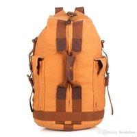 sacos de dia para homens venda por atacado-Leather Men Canvas Vintage Backpack Retro Viagem Bagagem Bag Outdoor Caminhadas Camping Mochila Totes saco do dia pacote