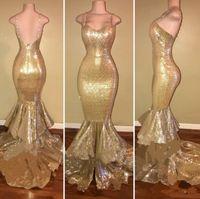 robes à plusieurs couches achat en gros de-2019 nouvel or bretelles spaghetti paillettes robes de bal sirène couches volants perles formelles robe de soirée de bal d'étudiants