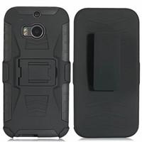бронированный чехол для мобильного телефона оптовых-MYN Black Armor Hard Phone Case для мобильного телефона HTC M8 Полная защита подставки Задняя крышка
