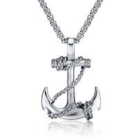якорь ювелирные изделия для мужчин оптовых-OBSEDE Punk Men Titanium Steel Pendants Chain Anchor Necklace Cross Men Women Stainless Fashion Jewelry Black/Gold/Silver Gift