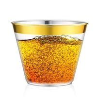 Wholesale ps cups resale online - 9oz Disposable Airline Cup Party Wedding Kitchen Supplies Gold Rimmed Disposable Thicken Hard Plastic Airline Cups PS Drink Cup