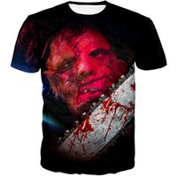 serra de corrente nova venda por atacado-Nova Moda Feminina / Homens Leatherface Chainsaw Verão Mangas Curtas Engraçado 3D Impressão T-shirt Roupas Casuais Top T K92