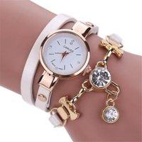hermosas mujeres reloj al por mayor-Las mujeres reloj pulsera hermosa de la manera pendiente del Rhinestone del reloj del regalo del cuarzo del reloj de señoras Movimiento #B