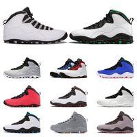 color azul polvo al por mayor-10 zapatos atléticos baloncesto para hombre zapatos 10s acero CHAPUCERO cemento gris Seattle polvo de color azul estoy de vuelta zapatillas deportivas entrenador