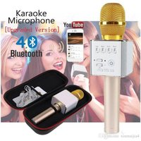 ingrosso microfoni della porta usb-Portatile Bluetooth Home KTV Altoparlante per karaoke Microfono per cellulare senza fili Porta di ricarica con USB