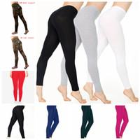 ingrosso pantaloni yoga per ragazze-10styles Leggings in cotone da donna Leggings casual in cotone alla caviglia-lunghezza gamba Slim Legging sport yoga lady girl pantaloni FFA1426