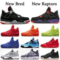 serin yeni basketbol ayakkabıları toptan satış-Nike Air Jordan Retro 4 Erkekler Basketbol Ayakkabıları Travis x Spor Ayakkabı Houston Oilers 4 s Kaktüs Jack Saf Para Raptors Çimento Siyah Kedi Motosports Sneakers Getirdi