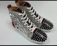 Wholesale red hip hop shoes resale online - Leather rhinestone rivet graffiti red men s shoes high shoes hip hop net red tide shoes women