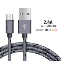 connecteurs micro usb achat en gros de-2A Nylon Tresse Micro USB Mâle Câble Données Sync Connecteur Tresse Téléphone Câbles Charge Rapide Microusb Android