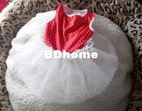 jolie robe de chien rouge achat en gros de-MIGNON pois LACE Petit chien chiot chat taille de robe de vêtements XS S M L-rouge et blanc