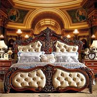muebles europeos franceses al por mayor-Moda europea francesa tallada muebles cama cama de 1,8 m moda cuero 6592