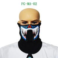 voz de máscara al por mayor-EL Mask Flash LED Máscara con sonido activo para bailar Riding Skating Party Máscara de control de voz Party Masks EEA349