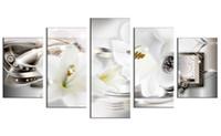 ingrosso decorazioni di giglio-Crysta Backgroundl Ribbon Canvas Print Wall Art Lily Flowers Artwork Modren Immagine per la decorazione della parete della casa